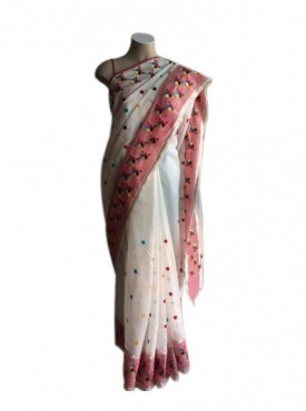 Hand Work Phulkari Embroidered saree -Cream