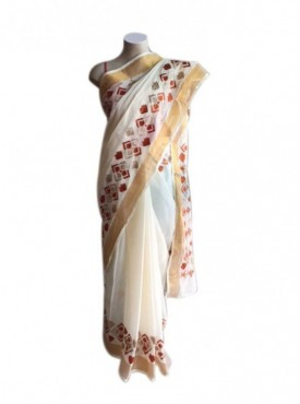 Hand Work Phulkari saree -Cream