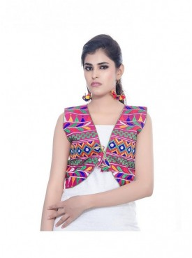 Women's Gujrati Kutch Work Multi Color Short Jacket/Koti