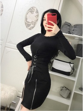 Korea Fashion 2 Colors Tie Waist Split Slim Cotton Dress