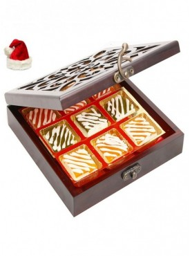 Christmas Gifts Sweets- Lazer Wooden Jewellery box with 9 Pcs Assorted Mango Bites