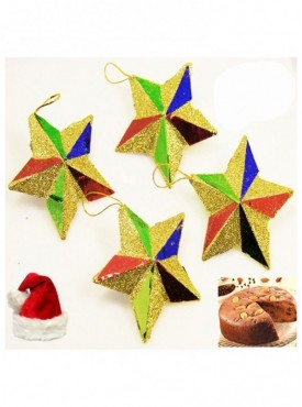 Set of 4 Colorful Stars with Plum Cake