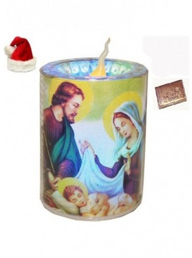 Jesus Glowing Candle with Christmas Chocolate Bar