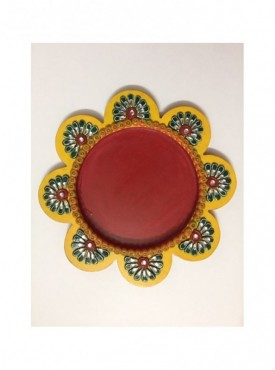 Flower shaped Wooden pooja thali