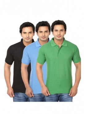 Ansh Fashion Wear Pack Of 3 Men Cotton Polo T-shirt