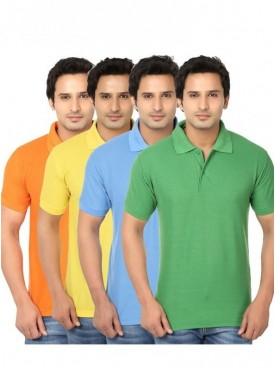 Ansh Fashion Wear Pack Of 4 Men Cotton Polo T-shirt