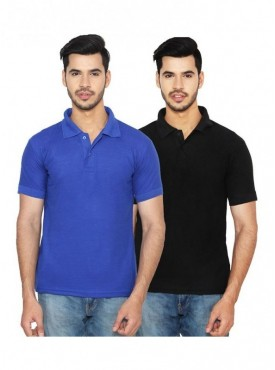 Ansh Fashion Wear Cotton Blend Polo T-Shirt Pack Of 2