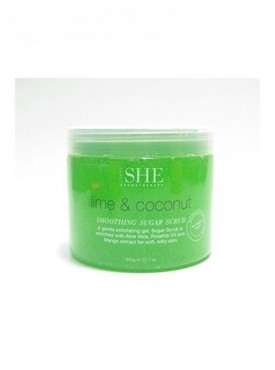 OM She Aromatherapy Lime & Coconut Smoothing Sugar Scrub Exfoliating Gel 21.1oz
