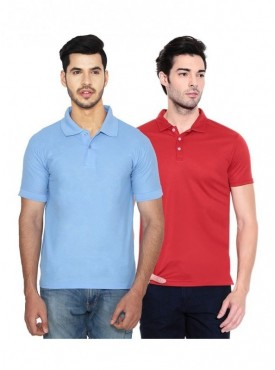 Ansh Fashion Wear Men Cotton Blend Polo T-Shirt Pack Of 2