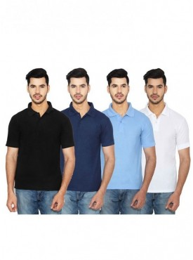 Ansh Fashion Wear Men Cotton Blend Polo T-Shirt Pack of 4