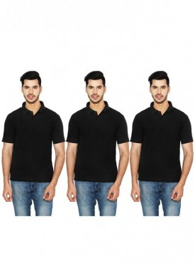 Ansh Fashion Wear Men Cotton Blend Polo T-Shirt Pack of 3