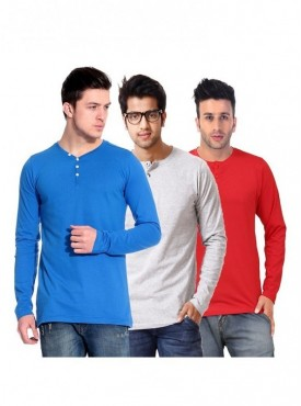 Ansh Fashion Wear Men Henley T-shirt Pack of 3