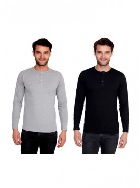 Ansh Fashion Wear Men Cotton Blend Henley T-Shirt Pack Of 2