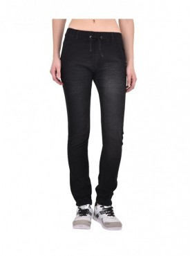 Ansh Fashion Wear Women Black Strechable Denim Jogger