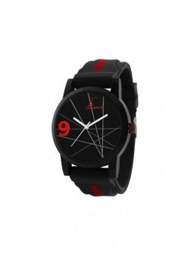 Jack klein Round Multi-colored Dial Black Silicone Strap Analogue Wrist Watch