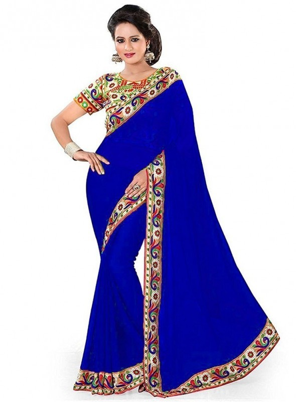Aaradhya Fashion Blue Color Georgette Saree