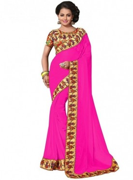 Aaradhya Fashion Pink Color Georgette Saree