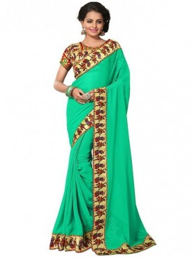 Aaradhya Fashion Green Color Georgette Saree