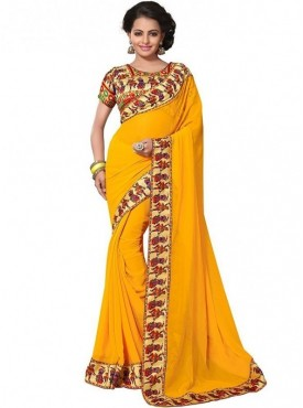 Aaradhya Fashion Yellow Color Georgette Saree