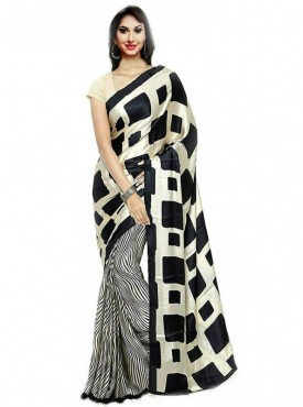 Aaradhya Fashion Black Color Crepe Saree