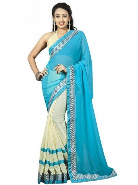 Aaradhya Fashion Blue Color Faux Georgette Saree