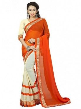 Aaradhya Fashion Orange Color Faux Georgette Saree