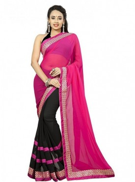 Aaradhya Fashion Pink Color Faux Georgette Saree