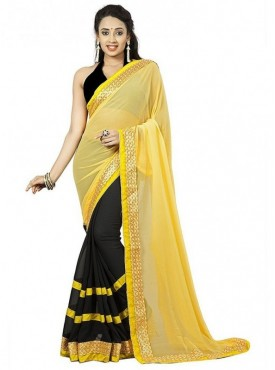 Aaradhya Fashion Yellow Color Faux Georgette Saree