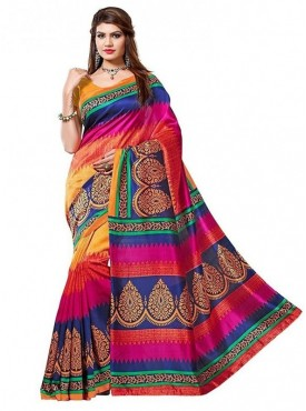 Aaradhya Fashion Multi Color Art Silk Saree