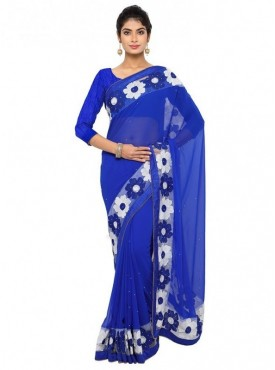 Aaradhya Fashion Purple Color Faux Georgette Saree