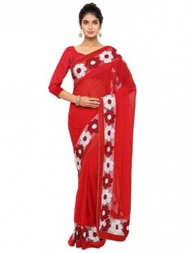 Aaradhya Fashion Red Color Faux Georgette Saree