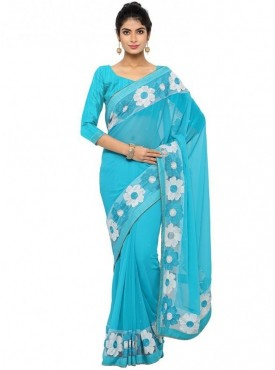 Aaradhya Fashion Skyblue Color Faux Georgette Saree