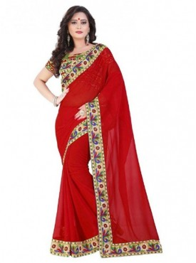 Aaradhya Fashion Red Color Georgette Saree