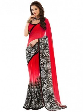 Aaradhya Fashion Red Color Ciffion Saree