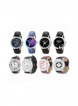 Jack Klein Leather Strap Multi Color Round Dial Analog Wrist Watches For Men Pack of 3