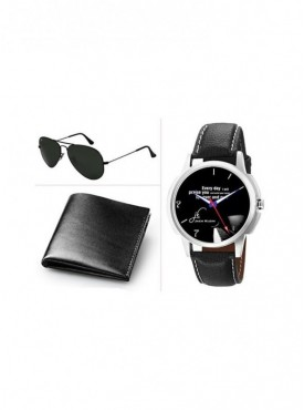 Jack Klein Combo of Leather Wallet And Sunglass With Elegant Analog Wrist Watch