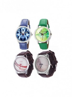Jack Klein Combo Of Synthetic Leather Multicolor Analog-Digital Round Wrist Watch