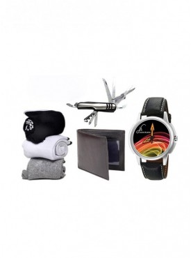 Combo of Socks, Leather Wallet, Swiss Knife And Graphic Watch