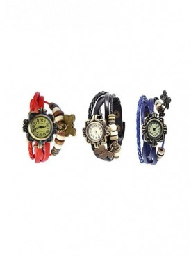 Pack of 3 Jack Klein Round Dial Leather Strap Elegant Analog Wrist Watches For Women