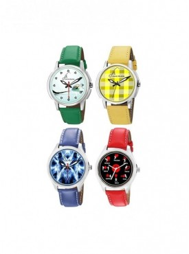 Combo of 4 Different Colors, Stylish, Leather Strap Graphic Watches