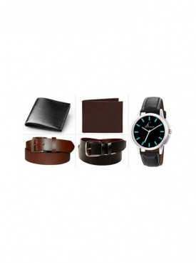 Jack Klein Combo of 2 Leather Walletes And 2 Leather Belts With Elegant Analog Wrist Watch