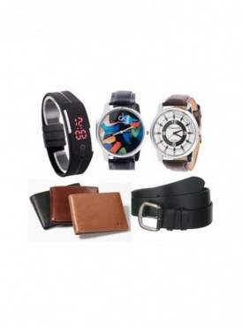 1 Digital Band + 2 Strap Watches + Leather Wallet + Leather Belt