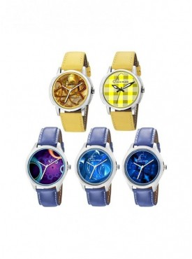 Combo of 5 Multi Colors Dial, Stylish, Leather Strap Graphic Watches