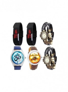 Special Combo of 2 BLK LED, 2 Vintage 2 Graphic Watches
