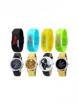 Combo of 4 Led Watches + 4 Graphic Watches