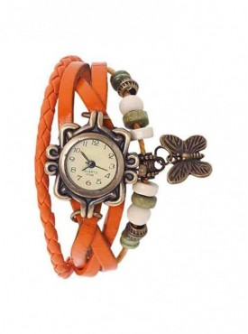 Jack Klein Leather Strap Round Dial Analog Wrist Watch For Women
