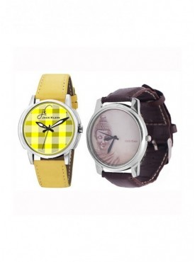 Jack Klein Leather Strap Multi Color Round Dial Analog Wrist Watches For Men Pack of 2