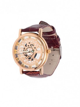 Jack klein Brown Strap Golden Dial Skeleton Wrist Watches For Men
