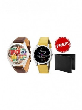 Combo of 2 Different Color Graphic Watches And Leather Wallet