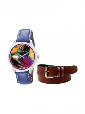 Jack Klein Round Dial Leather Strap Elegant Analogue Wrist Watch With Brown Leather Belt